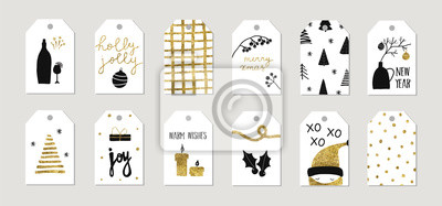 Set of christmas new year winter holiday cute greeting gift tags cards with gold texture objects. Vector abstract trendy illustration in minimalistic hand drawn flat style