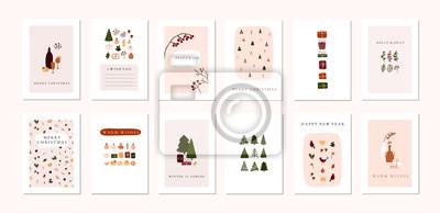 Naklejka Set of christmas new year winter holiday greeting cards with xmas decoration
