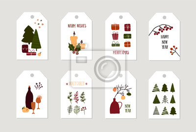Set of christmas new year winter holiday greeting gift tags with xmas decoration. Vector abstract trendy illustration in minimalistic hand drawn flat style