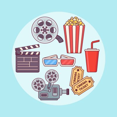 Set of cinema design elements. Popcorn, soda, ticket, film reel, glasses. Movie flat line icons. Vector illustration.