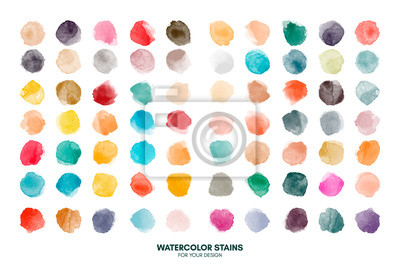 Naklejka Set of colorful watercolor hand painted round shapes, stains, circles, blobs isolated on white. Illustration for artistic design