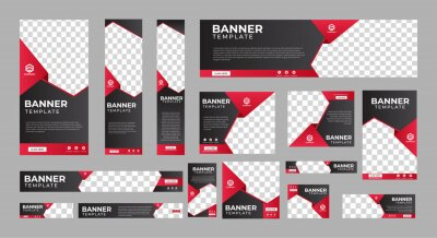 Naklejka set of corporate web banners of standard size with a place for photos. Vertical, horizontal and square template. vector illustration EPS 10