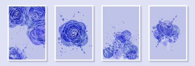 Set of creative minimalist hand draw illustrations floral outline with blue watercolor stain and splash. Design for wall decoration, postcard or brochure cover design
