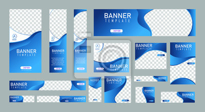 Naklejka set of creative web banners of standard size with a place for photos. Vertical, horizontal and square template. vector illustration