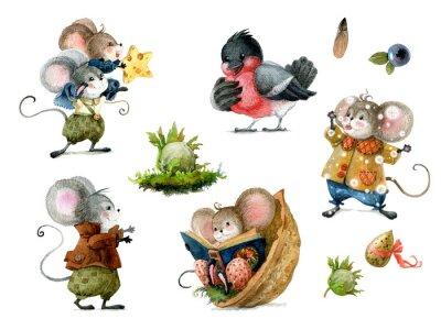 Naklejka Set of cute christmas mice in cartoon style. Watercolor christmas illustration