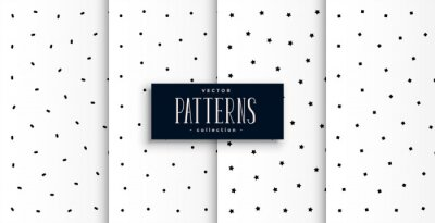 set of cute circle and stars patterns un black and white