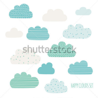 Naklejka Set of cute clouds. Design for kids. Vector illustration