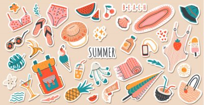 Naklejka Set of cute vector summer stickers for daily planner. Collection of scrapbooking elements for beach party:cocktail,bag,ice cream,bikini,beach hat.Tropical vacation.Summertime doodle icons pack