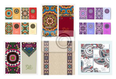 set of decorative flower template banner in indian kalamkari stile