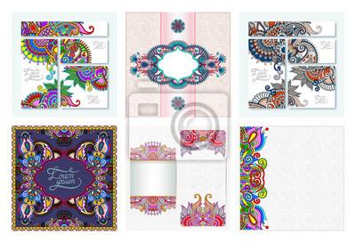 set of decorative flower template banner in indian kalamkari style