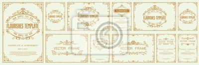 Naklejka Set of Decorative vintage frames and borders set,Gold photo frame with corner
