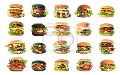 Naklejka Set of delicious burgers on white background
