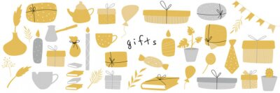 Set of different present hand drawn doodle style. Vector illustration for greeting cards, invitations, posters.