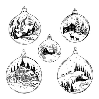 Set of drawing Christmas balls with nature landscape. Vector hand drawn isolated illustration for your design.