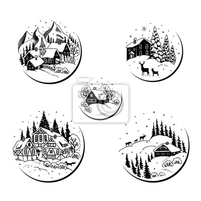 Set of drawing circles labels with landscape, houses, trees and animals. Christmas vector illustration.