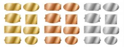 Naklejka Set of empty name plates, template silver, golden bronze plaques. Mockup badges for identification