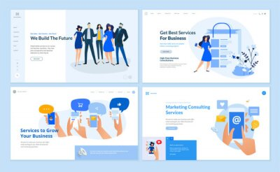 Set of flat design web page templates of business services, digital marketing, social media, our team, online communic. Modern vector illustration concepts for website and mobile website development.