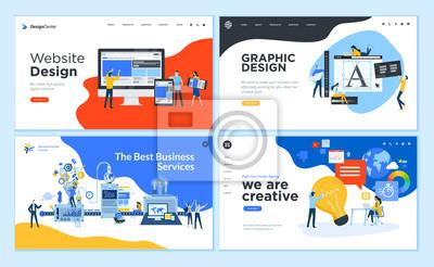 Naklejka Set of flat design web page templates of graphic design, website design and development, social media, business service. Modern vector illustration concepts for website and mobile website development
