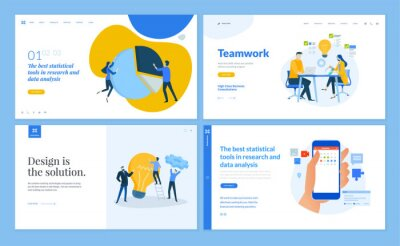Set of flat design web page templates of team and teamwork, market research, business analysis and statistics, social . Modern vector illustration concepts for website and mobile website development.