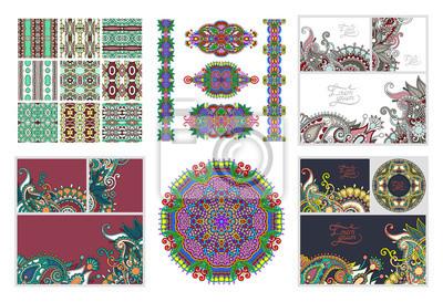 set of floral decorative background, template fram