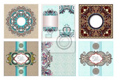set of floral decorative background, template frame