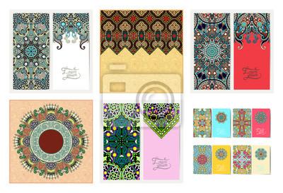 set of floral decorative background, template frame design for card