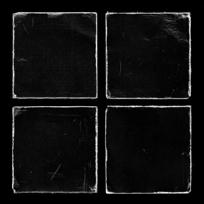 Set of Four Old Black Square Vinyl CD Record Cover Package Envelope Template Mock Up. Empty Damaged Grunge Aged Photo Scratched Shabby Paper Cardboard Overlay Texture.