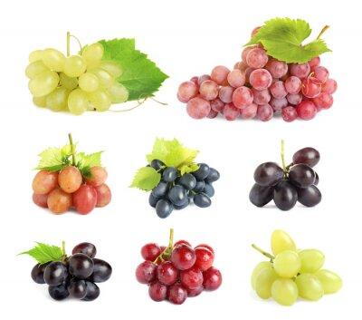 Naklejka Set of fresh grapes on white background