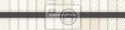 Naklejka Set of Geometric seamless patterns. Abstract geometric  hexagonal  graphic design print 3d cubes pattern. Seamless  geometric cubes pattern.