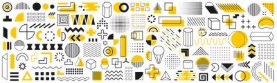 Naklejka Set of geometric shapes. Memphis design retro elements. Collection trendy halftone geometric shapes. Retro funky graphic, 90s trends designs and vintage print element collection – vector
