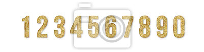 Naklejka Set of golden numbers. Numbers from 0 to 9 with shimmering glitter isolated on white background. Golden dust, vector illustration, EPS10
