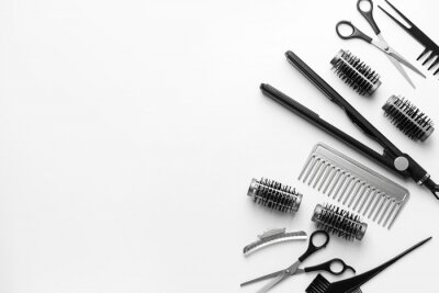 Naklejka Set of hairdresser tools and accessories on white background