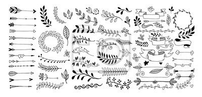 set of hand drawing page dividers borders and arrow