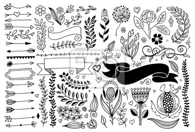 set of hand drawing page dividers borders and arrow, doodle floral design elements