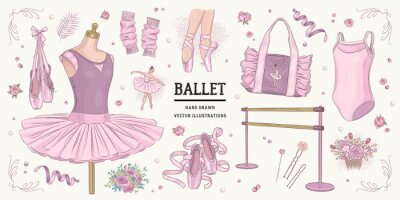 Set of hand drawn ballet accessories isolated on background. Vector illustration