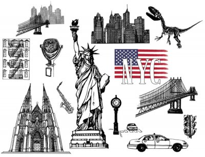 Naklejka Set of hand drawn sketch style New York themed isolated objects. Vector illustration.