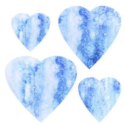 Set of hand painted blue watercolor hearts. Perfect for Valentine's day card, wedding invitations, patterns, romantic post cards