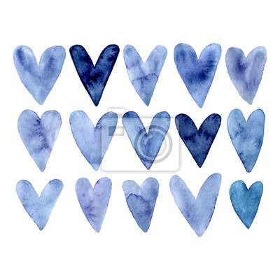 Set of hand painted indigo blue watercolor hearts. Isolated heart on white background. Cute hearts elements for valentine message, Valentine's day card or romantic post card. Aquarelle illustration.
