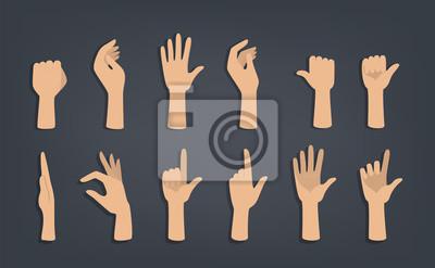 Naklejka Set of hands showing different gestures.