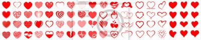 Naklejka Set of hearts icon, heart drawn hand - stock vector