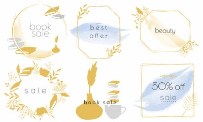 Set of labels and stickers for sale, product promotion, special offer, shopping, e-commerce. Isolated vector illustrations for web design and marketing material. Book sale.