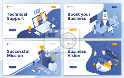 Naklejka Set of Landing page design templates for Technical Support, Boost your Business, Successful Mission and Business Vision. Easy to edit and customize. Modern Vector illustration concepts for websites