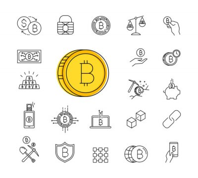 Set of Line Stroke Vector Bitcoin and Cryptocurrency Icons