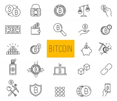 Set of Line Stroke Vector Bitcoin and Cryptocurrency Icons design
