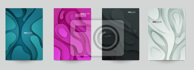 Naklejka Set of minimal template in paper cut style design for branding, advertising with abstract shapes. Modern background for covers, invitations, posters, banners, flyers, placards. Vector illustration.