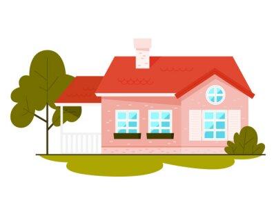 Set of multicolor houses. City cottage buildings.