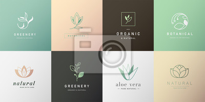 Naklejka Set of natural and organic logo in modern design. Natural logo for branding, corporate identity, packaging and business card.