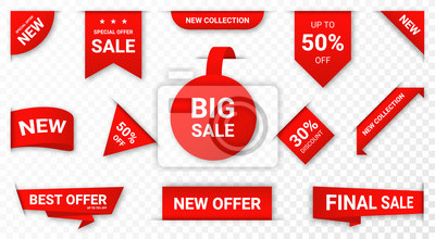 Naklejka Set of new stickers, sale tags and labels. Shopping stickers and badges for merchandise and promotion, special offer, new collection, discount etc. Red stickers for web banners with transparent shadow
