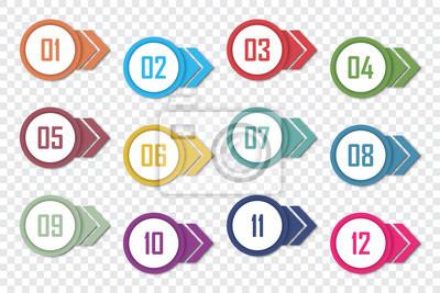 Naklejka Set of number bullet point 1 to 12. Vector illustration