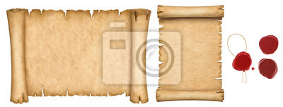 Naklejka Set of old papers and vintage manuscript and papyrus scroll with wax seals isolated on white background.